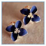 Brincos bonitos elegantes do parafuso prisioneiro da senhora Menina Azul Flor Cristal da forma