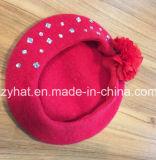 Мода вязаные шерстяные береты с Dimonds и цветов для девочек/красные береты