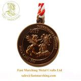 めっきされるカスタム締縄の円形の金はダイカストの金属メダル黄銅を
