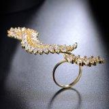 De regelbare Ring van de Juwelen van de Manier van het Zirkoon van het Manchet van het Blad Open