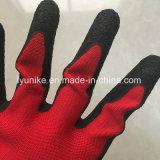 Elástica Black-Red Guantes con recubrimiento de látex guantes de seguridad