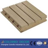 O som do MDF absorve placa acústica de madeira Grooved da parede