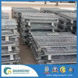 Contenedor de malla de alambre plegable en el equipo de transporte y almacenamiento