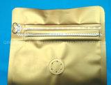 250 g de granos de café oro mate de la lámina de fondo plano de la bolsa de café con la válvula y Zip