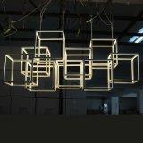 Europäischer weißer Polygon-Rahmen-Edelstahl-hängende Lampe