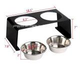 El nuevo animal doméstico de acrílico elevó el soporte del alimentador con 2 tazones de fuente del acero inoxidable para los gatos y los perros