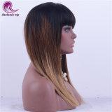Brown Ombre el Color de cabello virgen India pleno encaje peluca con golpes