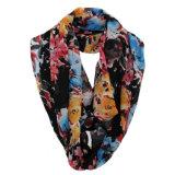 Écharpe Chiffon d'infini de source de polyester imprimée par fleur de mode de femme (YKY1104)
