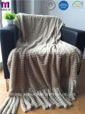 ふさが付いている2つの層ののどの毛皮ポリエステル羊毛毛布