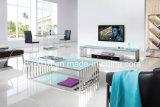 Acero inoxidable el italiano moderno salón sofá mesa / círculo de vidrio de la pierna sofá tabla