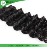 Vente en gros non transformée de cheveux humains d'onde de couleur profonde péruvienne de noir