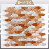 Mix Orange et Blanc en mosaïque de verre ovale pour douche carreaux mural
