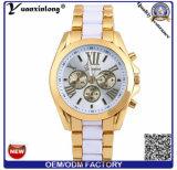 Signora vigilanze della vigilanza delle donne dell'acciaio inossidabile della vigilanza del cronografo del Wristband del silicone Yxl-772