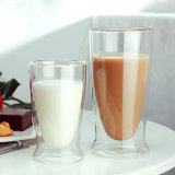 Taza de café de vidrio de doble pared de vidrio de borosilicato de taza de leche Regalo Promocional taza de café