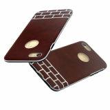 Caja protectora híbrida del teléfono móvil de la goma de la PU para el iPhone 8-Brown