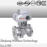 2PC motorisé a bridé robinet à tournant sphérique d'acier inoxydable avec le dispositif d'entraînement électrique