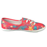 Fuchsia Pink Flower Pattern Flat Ladies Canvas Slip on Shoes