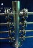 El cubo de acero inoxidable y laterales del cabezal