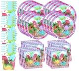 Розовый Umiss мало Dino девочек набор расходных материалов на день рождения динозавров пластины салфетки чашки посуда для 16