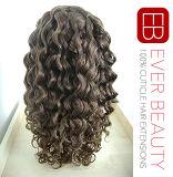 A peruca indiana da parte dianteira do laço do cabelo/ata completamente a peruca do cabelo humano da peruca 100%