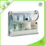 Saco cosmético do cosmético do curso do vinil do espaço livre do malote do PVC do plástico transparente