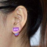 Eulen-doppelseitige Ohrring-purpurrote Decklack-Stift-Ohrring-kundenspezifische nachgemachte Schmucksachen