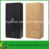 Deux portes et modèles de garde-robe de deux tiroirs