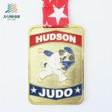 Médaille faite sur commande en alliage de zinc de judo d'émail de sport d'or en métal de trophée de souvenir d'approvisionnement de Jiabo avec la bande