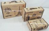 S/3 оформлены старинной Vintage Париж дизайн печати фиолетового цвета кожи/MDF деревянные окна чемодан для хранения данных