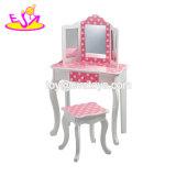 Nova cor de rosa mais meninas de madeira vaidade definir com alta qualidade W08H096