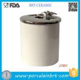 タケか陶磁器のふたが付いているカスタマイズされた印刷の陶磁器の蝋燭の瓶またはホールダーの小さなかん