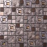 Rose de mosaico, 304 aço mosaico de madeira mista, Rose Mosaico de vidro de cor dourada