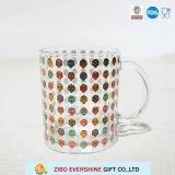 Taza de café de cristal de 16 onzas con insignia de encargo y la maneta