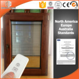 La poignée de manivelle pliable en bois, l'obturateur de la fenêtre à battant en aluminium à revêtement aluminium solide et tourner l'inclinaison de la fenêtre en bois
