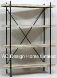 4 Tier Vintage antiguo decorativos de madera/Metal soportes de estante de hierro forjado.