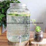 Vaso di vetro di vetro caldo del vaso di muratore della spremuta della bevanda di vendita 5L con il colpetto