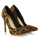 New Arrival Italian Sexy Leopard Pointed Toes Glitter High Heel Ladies Shoe