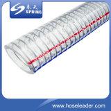Vente en gros claire de boyau renforcée par ressort en acier de fil d'acier de PVC de chlorure polyvinylique