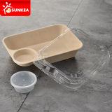 Contenitore biodegradabile di alimento asportabile dei 2 scompartimenti con il coperchio di plastica