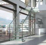 Sistema de cristal endurecido moderno de la escalera con el soporte del vidrio Tempered