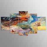 벽 예술 화포 HD 인쇄 포스터 현대 기털은 거실을%s 추상적인 인도 소녀 색칠 홈 장식 5개 피스 그린다