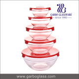 High Quality 5PCS Knell Bowls Set with Multi-Line Designs with Color Lid (GB1408U)
