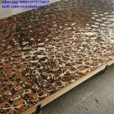 Espejo que refleja el techo de acero inoxidable de chapa de hoja en forma de onda de agua