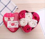 Venta caliente de color rosa rosa regalo de bodas Metal forma de calor de la caja de jabón jabón de manos de flores