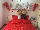 バレンタインデーの結婚式I愛中心の気球
