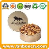 Las tuercas de lata de metal redondo tin box para empaquetado de alimentos