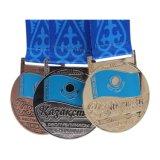 Chapado en plata brillante metal Deportes medalla con Glitter