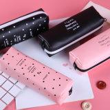 Netter rosafarbener Bleistift-Kasten für Mädchen Kawaii schwarzer weißer PUNKT-PU-ledernen Feder-Beutel-Briefpapier-Beutel-Büro-Schule-Zubehör Zakka Escolar