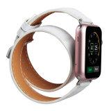 band van het Horloge van de Riem van de Reis van het Leer van 38mm de 42mm Echte Dubbele voor het Wit van Iwatch van de Appel