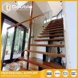 유리제 방책 오스트레일리아 표준 계단을%s 가진 현대 나무로 되는 층계 L 모양 똑바른 계단